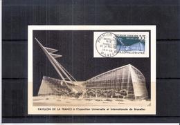 Expo 58 - Carte Maximum - Pavillon De La France (à Voir)