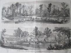 Gravure 1867 Exposition Universelle De PARIS   Le Jardin  Prussien   Ministere De La Guerre Section Francaise - Vecchi Documenti