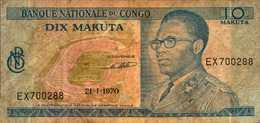 CONGO BANQUE NATIONALE 10 MAKUTA Du 21-1-1970  Pick 9a - Congo