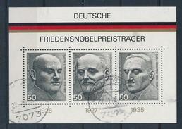 BRD Mi. Block 11 Gest. Friedensnobelpreisträger Stresemann  Von Ossietzky TGST