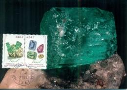 CM-Carte Maximum Card # 2015-TAAF-FSAT #Geologie-geology # Minéraux-Minerals -Mineralien # Béryl ,Beryll,beryl