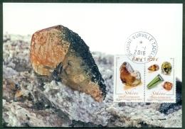 CM-Carte Maximum Card # 2016-TAAF-FSAT #Geologie-geology # Minéraux-Minerals -Mineralien #  Sphène,Titanit,titanite