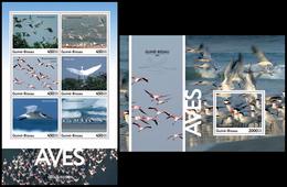 GUINEA BISSAU 2016 - Birds, Flamingo. M/S + S/S. Official Issue