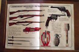 Illustration :l'armement Individuel Du Fantassin Fusil, Grenade , Revolver, Baionnettes , Double Page - 1914-18