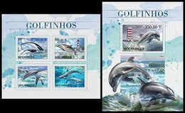MOZAMBIQUE 2016 - Dolphins. M/S + S/S. Official Issue