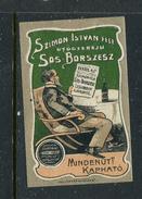 "Szimon Istvan Fele Sos-Borszesz Mindenutt Kaphato Reklamemarke Poster Stamp Vignette Hinged 1 3/8 X 2"" - Cinderellas"