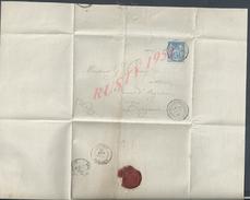 LETTRE DE 1882 SUR TIMBRE SAGE AL BOUSSÈS DE FOURCAUD CHÂTEAU DE BARBET ( GERS ) CACHET DE CIRE + OB LIBOURNE :