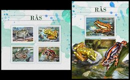 MOZAMBIQUE 2016 - Frogs. M/S + S/S. Official Issue