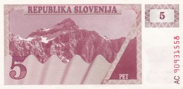 SLOVENIA  5 TOLARJEV    1990  FDS - Slovénie