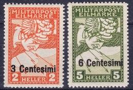 Italy Occupation Of Austria Sassone#R1-R2 (carta Bianca) Mi#24-25 ND Mint Hinged - 8. WW I Occupation