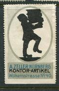 """A Zeller Nurnberg Kontor Artikel Wolkernstrasse No 40 Reklamemarke Poster Stamp Vignette No Gum 1 1/2 X 2 3/8"""" - Cinderellas"""