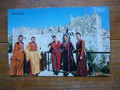 Palestine Jérusalem And Gaza Traditional Dresses Worn By Palestinian Women Near The Walls Of Jérusalem The Everlasting