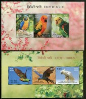 India 2016 Exotic Birds Parrots Blue Throated Macaw Wildlife Fauna 2 M/s MNH