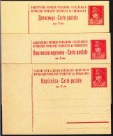Yugoslavia Republic, 3 Dinara Red Tito Motive Postal Stationery Cards, Different Types, Excellent Mint Condition - 1945-1992 Socialistische Federale Republiek Joegoslavië