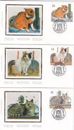 FDC - Série De 4 Timbres Chats Sur Soie/zijde  N° 2521/4 - Chat  - 04/09/1993 - 1991-00