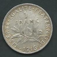 FRANCE - 1 FRANC 1916 - SEMEUSE - ARGENT  PIA20602 - Francia