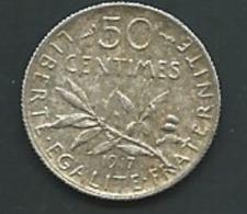 FRANCE - 50 CENTIMES 1917 SEMEUSE - ARGENT  PIA20605 - Francia