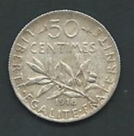 FRANCE - 50 CENTIMES 1918 SEMEUSE - ARGENT PIA20611 - Francia