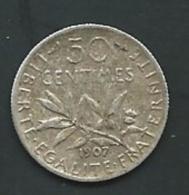 FRANCE - 50 CENTIMES SEMEUSE ARGENT 1907- ARGENT PIA20612 - Francia
