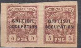 Russia Occupation Great Britain, Batum 1919 Mi#17 Mint Hinged Pair
