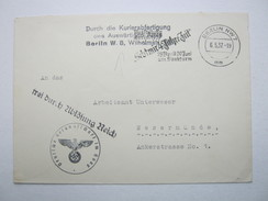 1937 , Deutsche Gesandschaft Haag , Dienstsiegel Auf Brief Nach Deutschland. Via Berlin Mit Zensur