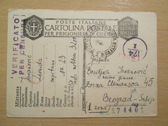 WWII Italian POW Camp Card Sent To Belgrade With Italian And German Censorship - Guerra 1939-45