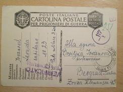 WWII Italian POW Camp Card Sent To Belgrade With Italian Censorship - Guerra 1939-45