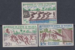 Cote D'Ivoire N° 201 / 03 Nd XX : Jeux D'Abidjan, Les 3 Valeurs Non Dentelées, Sans Charnière, TB_