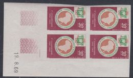Cote D'Ivoire N° 288 Nd XX : 5ème Ann.  Bq  Afri. De Dével., En Bloc De 4 Non Dentelé Coin Daté Du 19.8.69 , Ss Ch., TB_