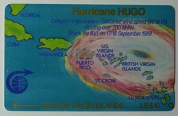 BRITISH VIRGIN ISLANDS - GPT - 2CBVA - $10 - Hurricane Hugo - BVI-2A - Mint - Rare - Virgin Islands