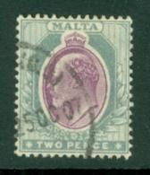 Malta: 1904/14   Edward   SG50    2d   Purple & Grey  Used - Malta (...-1964)