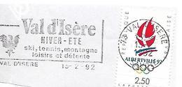 Timbre JO Albertville 1992 + Flamme Val D'isère Savoie Sport Hiver Ski Glisse