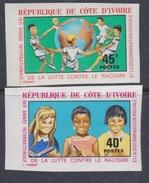 Cote D'Ivoire N° 322 / 23 Nd XX : Année Interna. De La Lutte Contre Le Racisme, La Paire Non Dentelée, Sans Char., TB_