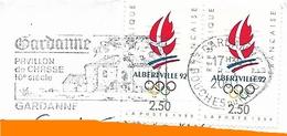 2 Timbres JO Albertville 1992 + Flamme Gardanne Bouches Du Rhône Sport Hiver Ski Glisse