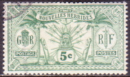 NEW HEBRIDES(French Inscr.) 1913 SG F22 5c Used No Wmk Or RF In Sheet - French Legend
