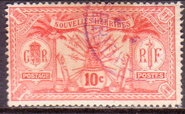NEW HEBRIDES(French Inscr.) 1913 SG F23 10c Used No Wmk Or RF In Sheet - French Legend
