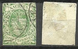 Deutschland SACHSEN 1851 Michel 2 O