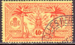 NEW HEBRIDES(French Inscr.) 1913 SG F27 40c Used No Wmk Or RF In Sheet CV £80 - French Legend