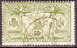 NEW HEBRIDES(French Inscr.) 1913 SG F28 50c Used No Wmk Or RF In Sheet CV £38 - French Legend