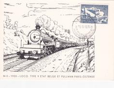 Carte Sur Le Thème Des Trains - N°5 - 1925 - LOCO Type 9  - Etat Belge Et Pullman Paris-Ostende - Obl. Timbre 996 - Treinen