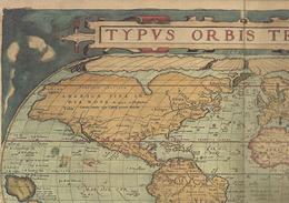 Mappemonde Extraite Du Theatrum Orbis Terrarum De Abraham Ortelius, Anvers, 1570 Format 36 X 52 Cm - Geographical Maps