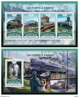 TOGO 2016 - Steam Trains, M/S + S/S. Official Issue.