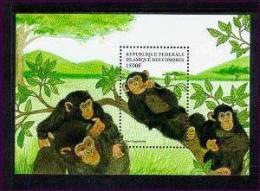COMORES   860  MINT NEVER HINGED SOUVENIR SHEET OF ANIMALS ; MONKEYS  ( - Postzegels