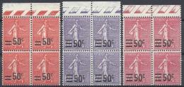 FRANCE SEMEUSE N°220/223/224 BLOC DE 4 1926/1927 NEUF ** LUXE MNH
