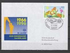 Germany 1996 Children Youth, SOS Children Village Cover To Austria