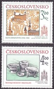 CZECHOSLOVAKIA 1985, Complete Set, MNH. Michel 2825-2826. HISTORICAL MOTIVES, OLD CERAMICS. Good Condition, See The Scan