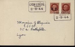 YT 517 Et Libération Lyon N 10 Cachet Lyon Libéré 2.9.44 Pour Lyon Mélange Des 2 Autorisés Jusqu'au 1.11.44