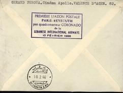 France Liban Avion Aviation Quadriréacteur Compagnie LIA Lebanese International Airways YT 1465a 1469x2 - Marcophilie (Lettres)