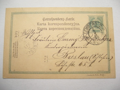 1902 . LEMBERG ,  Karte Nach Breslau