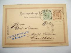 1891 , BIALA , Klarer Stempel Auf Ganzsache Nach Warschau